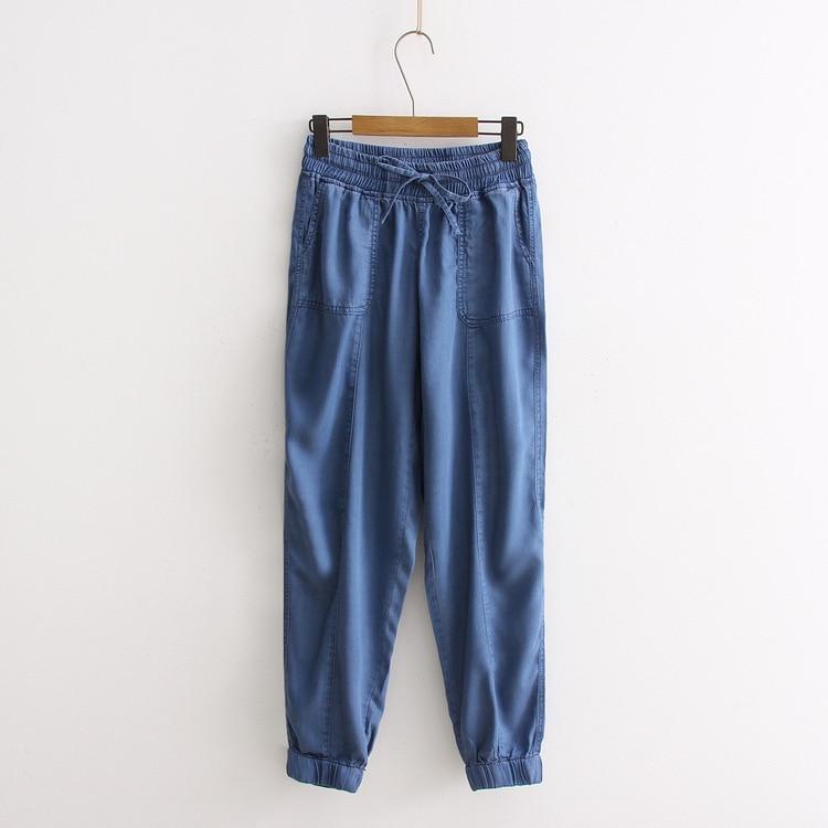 Large Size Tencel Jeans Women's Skinny Slimming Loose-Fit Versatile Elastic Waist Thin Capri Pants Harem Pants S26454