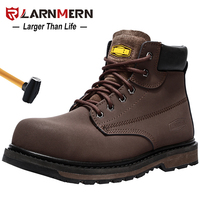 LARNMERN Men's Work Safety Shoes Breathable Construction Protective Footwear Steel Toe Anti smashing Non slip Sand proof Shoes