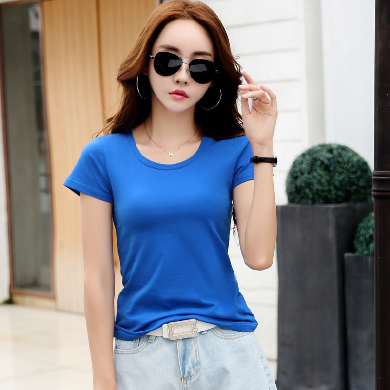 100 Cotton 2019 Summer Women Tunic T Shirt Solid White Short Sleeve Casual Top Slim Basic Summer minimalist plus size 3xl Tee in T Shirts from Women 39 s Clothing