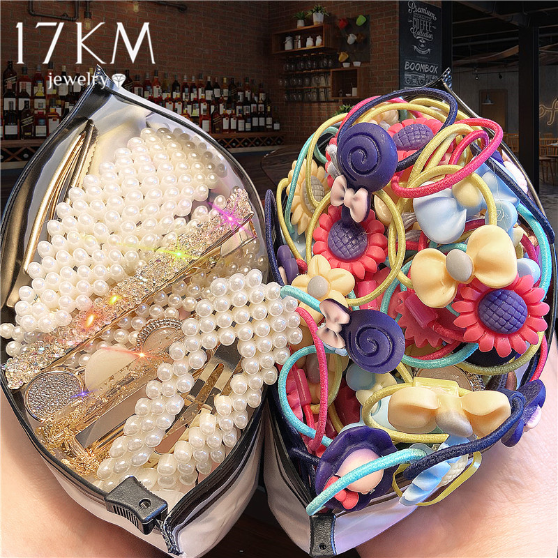 1000PCS/Lot Pearl Elastic Hair Bands For Women Kids Heart Ponytail Holder Rubber Band Lovely Heart Hair Ropes Hair Accessories
