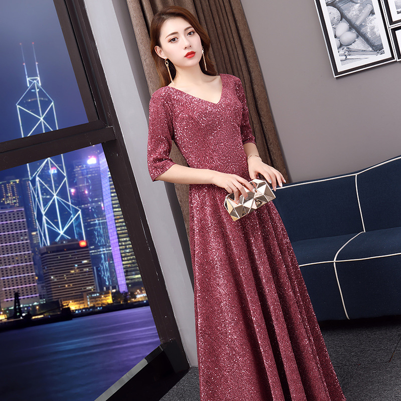 Banquet Evening Gown 2019 New Style Autumn And Winter Long Nobility Elegant Red Elegant Debutante Party Annual General Meeting D