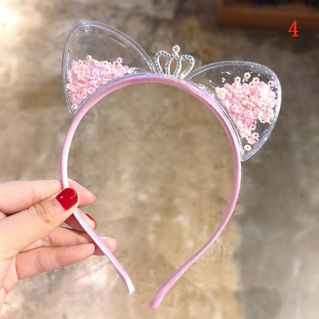 Cute Cat Ears Baby Girls Headband Colorful Sequin Crown Princess Hair Bands Cartoon Kids Hair Accessories