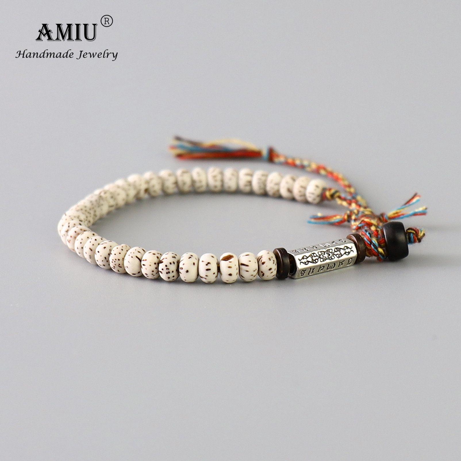 AMIU Tibetan buddhist Braided Cotton Thread Lucky Knots bracelet Natural Bodhi Beads Carved Amulet Handmade Bracelet For Men