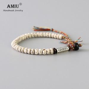 AMIU Tibetan buddhist Braided Cotton Thread Lucky Knots bracelet Natural Bodhi Beads Carved Amulet Handmade Bracelet For Men(China)