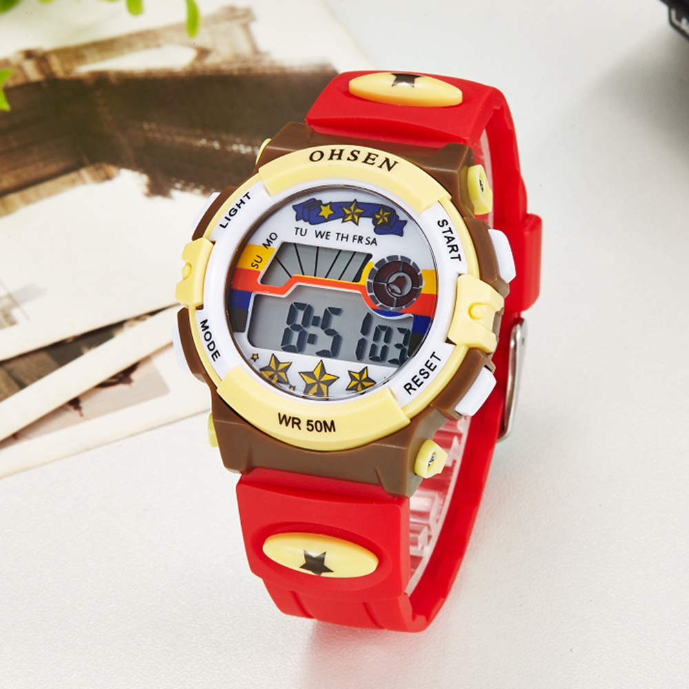Digital Waterproof Kids Girl Watch Fashion Cute Red Silicone Electronic Children Wristwatch Boys Led Sport Cartoon Clock Gift