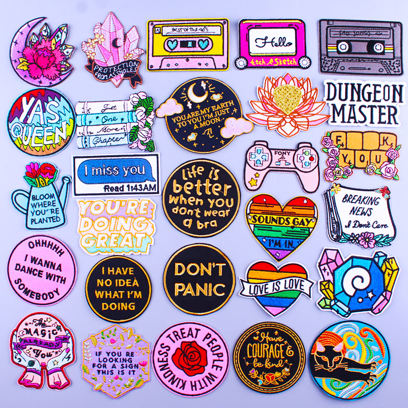 Cartoon Letter Patches For Clothing Thermoadhesive Patches Gay Heart Patch Hippie Iron on Embroidery Patches on Clothes Applique
