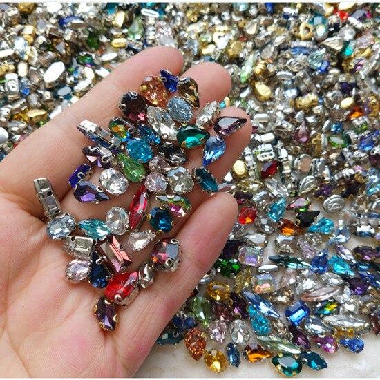100 pces 3-15mm Vidro Prata Volta Broca Garra de Strass Cristal AB Sew Em Pedrinhas Artesanato DIY Acessórios ferramenta de Manicure