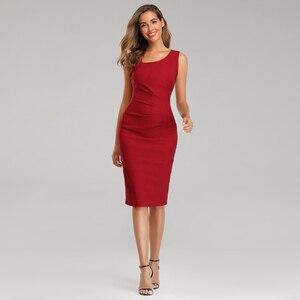 Платье женское, облегающее, красное, Формальное, без рукавов, до колена