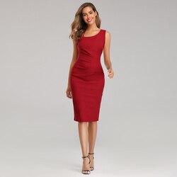 Bodycon אדום לבוש הרשמי נשים אלגנטי Slim משרד שמלה שחור ערב המפלגה שמלה סקסי ללא שרוולים באורך הברך מועדון שמלה