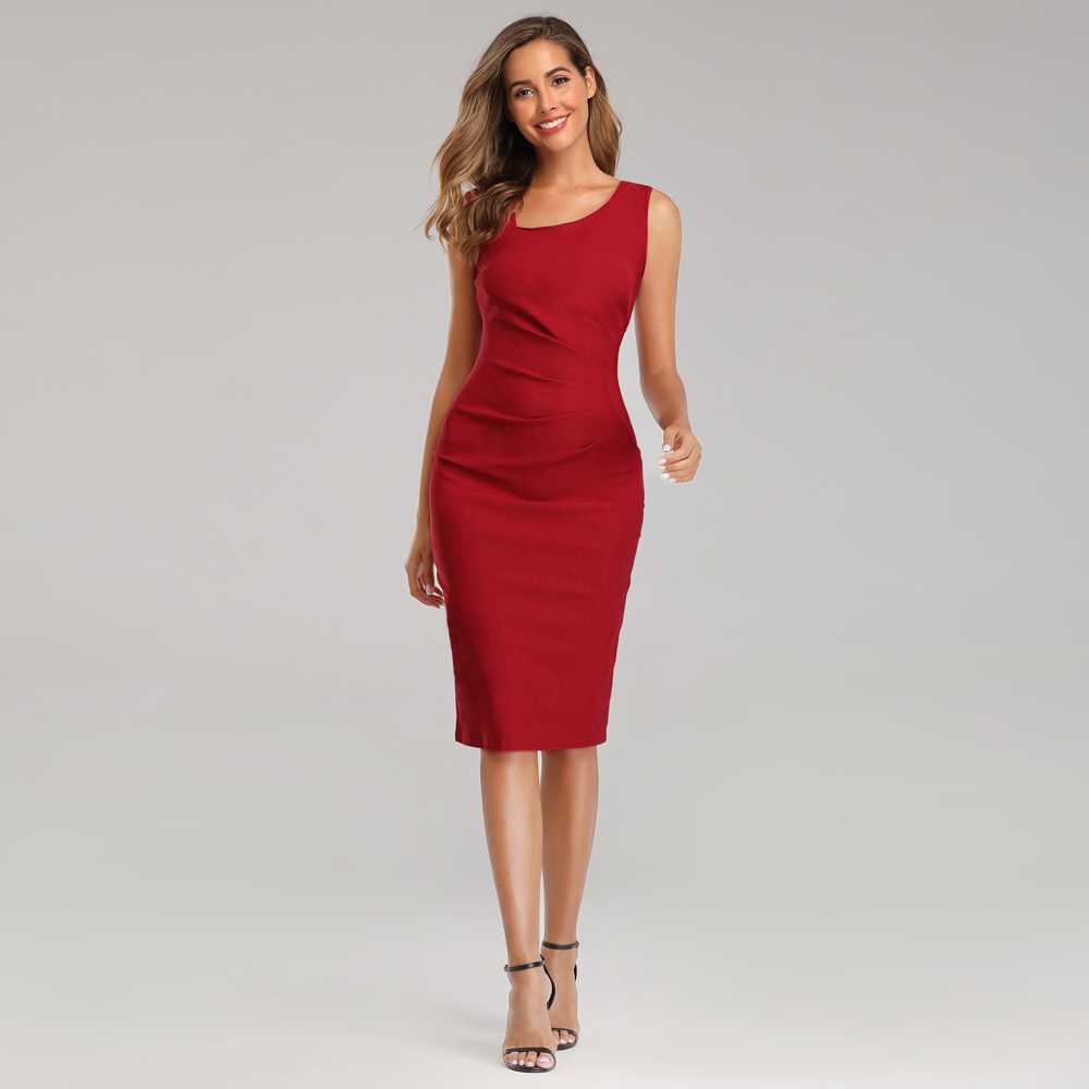 Bodycon Red Formal Dress Women Elegant Slim Office Dress Black Evening Party Dress Sexy Sleeveless Knee-length Club Dress