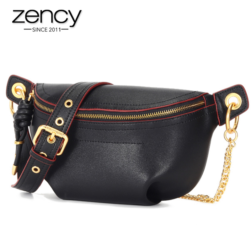 Zency Fashion Women's Chest Bag 100% Genuine Leather High Quality More Pockets Chest Bags Classic Black Crossbody