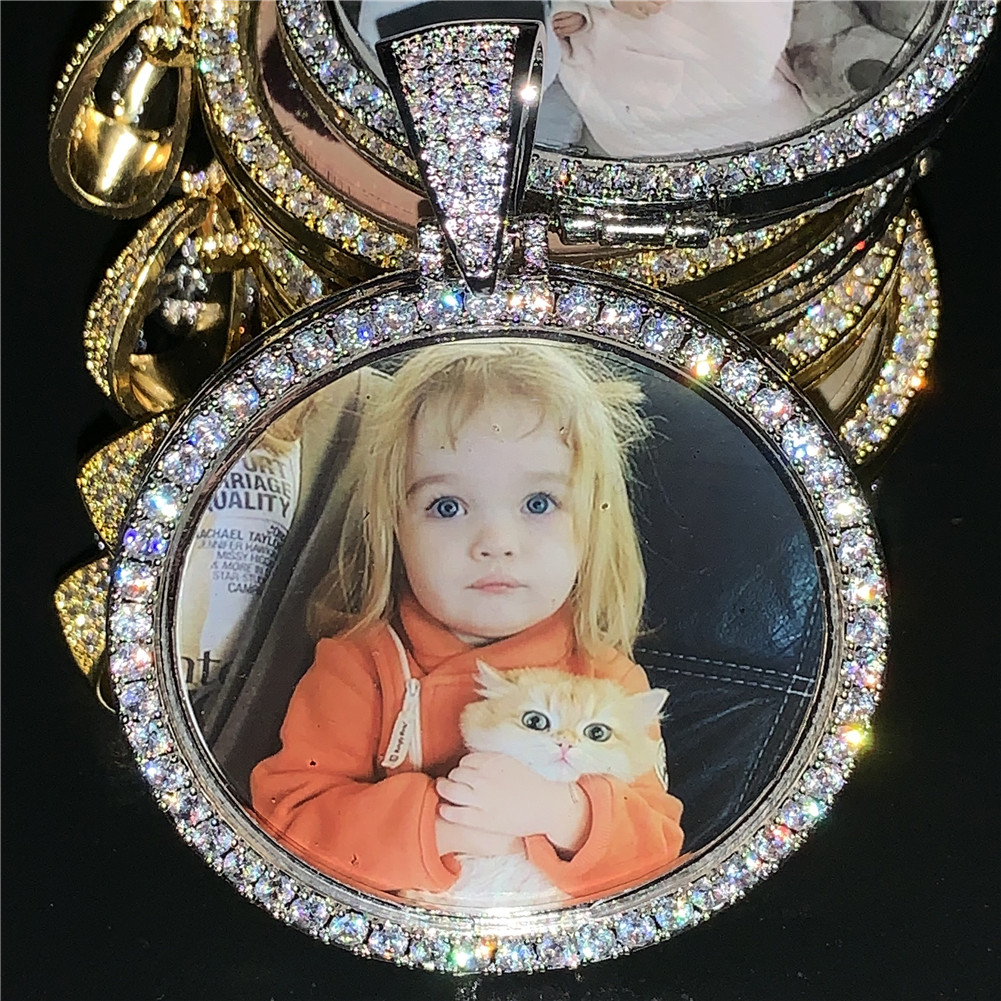 Custom Photo Memory Medallion Picture Pendant Necklace With Tennis Chain Hip Hop Jewelry Personalized Zirconia Chains Charm Gift