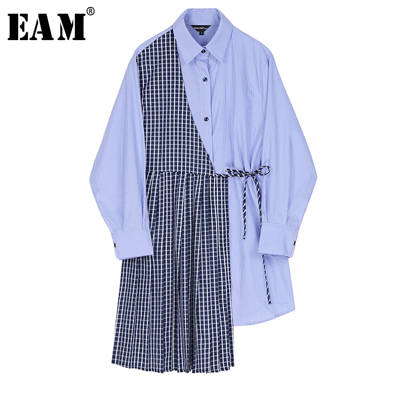 [EAM] Women Blue Plaid Split Joint Big Size Shirt Dress New Lapel Long Sleeve Loose Fit Fashion Tide Spring Autumn 2020 1S383