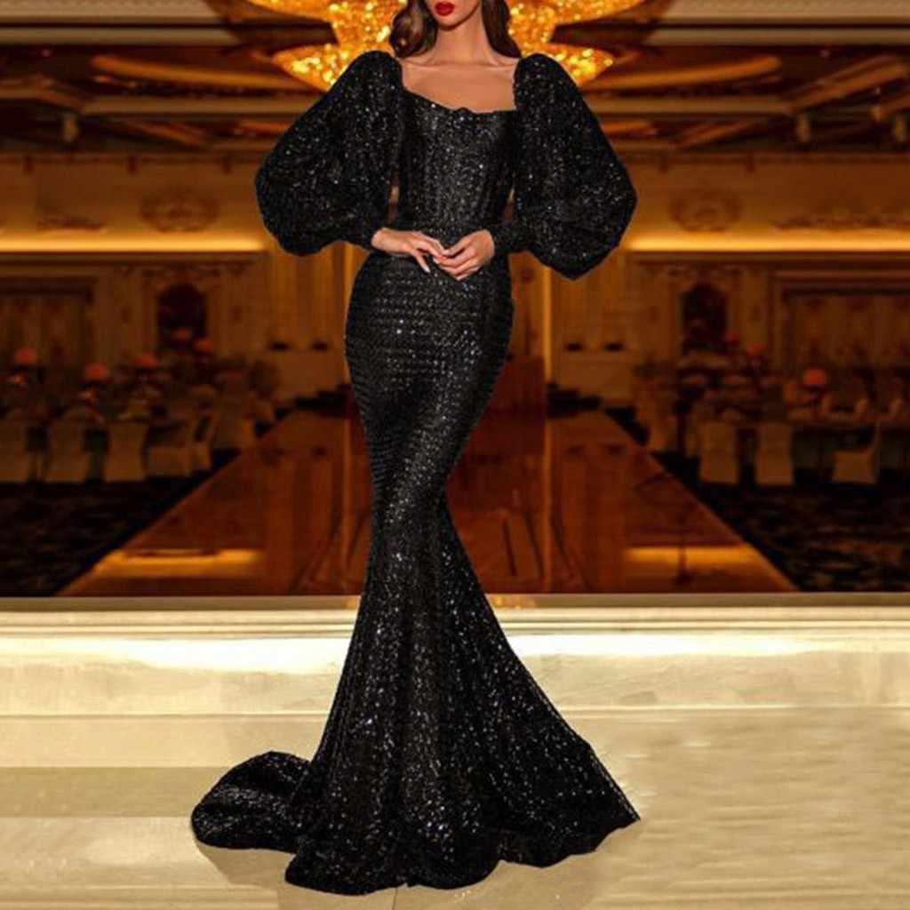 Pailletten Quaste Langarm Kleid Fringe Sukienka Elegante Lange Party  Kleider Abend Robe 18 Sexy Glänzenden Boden Kleid Dropship # D