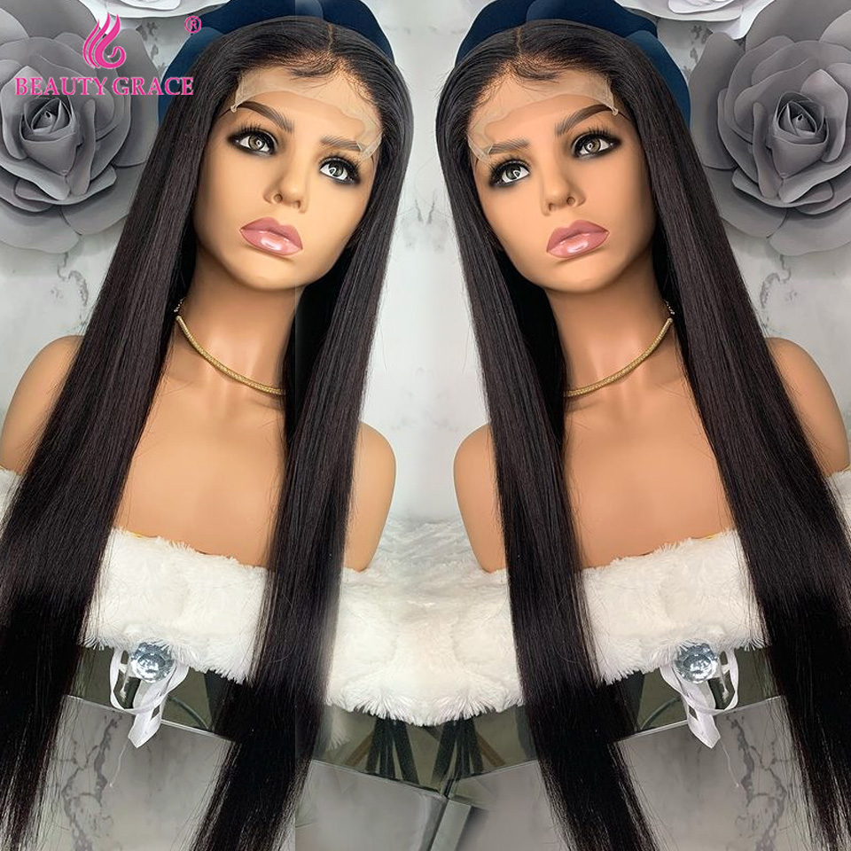 Beauty Grace Straight Lace Front Human Hair Wigs Lace Frontal Wigs Remy 30 Inch Brazilian Human Hair Lace Closure Wigs for Women