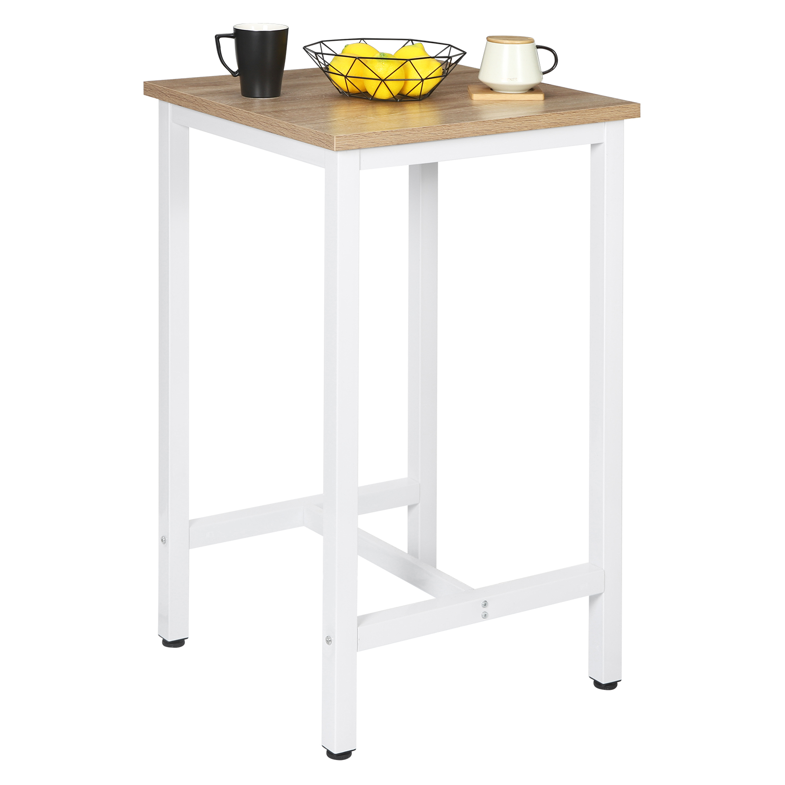 1PC High Bar Table Bistro Dining Table with Metal Frame 60 x 60 x 102cm Coffee Tea Home Kitchen Breakfast Bar Furniture