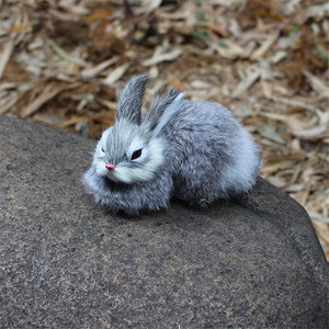 Image 2 - 15CM Mini realistyczne śliczne białe pluszowe króliki futro realistyczne zwierzę zając wielkanocny imitacja królika Model zabawkowy prezent urodzinowy