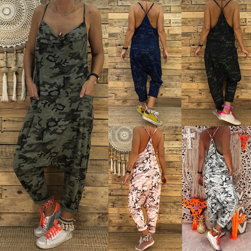 Fashion Camouflage Sleeveless Sexy Sling Backless Jumpsuit Baggy Casual Loose Streetwear Lady Long Pants Suitable For Beach
