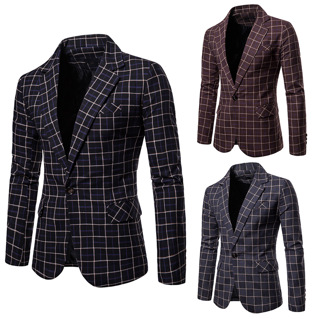 Winter Plaid Suit NEW Fashion Men's Formal Plus Size Slim Button Suit Turn-down Collor Handsome Tops Solid Jacket Coat Free Ship