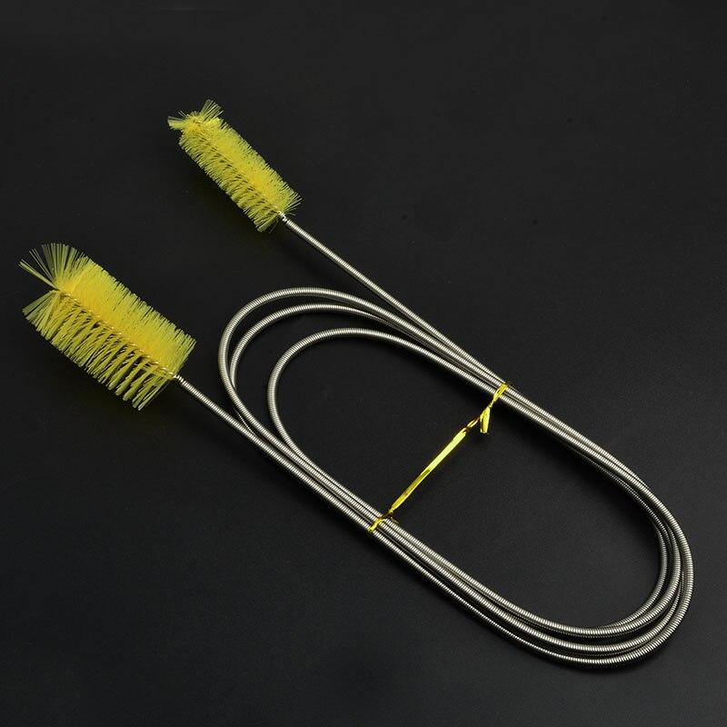 NICREW щетка для чистки аквариума для водяного фильтра Лилия труба воздушный шланг из нержавеющей стали Гибкая Двухсторонняя щетка для шлангов - Цвет: Yellow double bursh