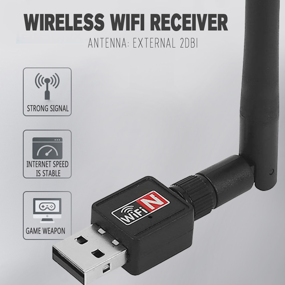Universal Wireless USB Adapter Lan Network Desktop Adaptor 150Mbps Black 2.4G 802.11 B/G/N PC Computer Accessories Wifi Dongle