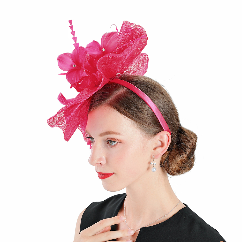 Wedding Hats for Women Elegant Red Fascinators Hat Flower With Feather Fedoras Hat Headband Cocktail Tea Party Dance Banquet Cap in Women 39 s Fedoras from Apparel Accessories