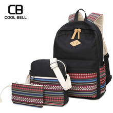 Casual Striped Women Bag New 3pcs/set School Bags For Teenager Girls Laptop Travel Backpack Canvas  Waterproof Schoolbag