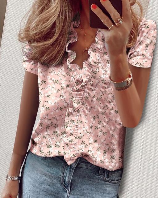 Hirigin 2020 Fashion Summer Ladies Temperament Flouncing Short Sleeve Blouse Sweet Printing Solid Top Casual Shirt Clothing