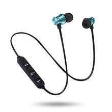 Bluetooth fone de ouvido com microfone esportes neckband magnético sem fio fones estéreo música metal para todos os telefones