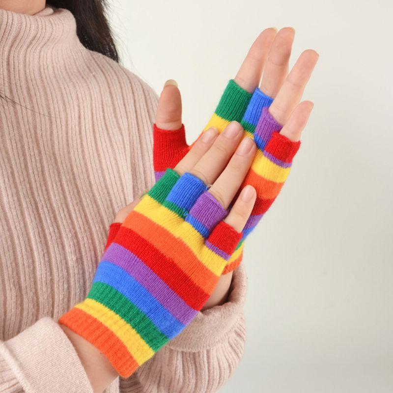 2020 New Adult Kids Rainbow Stripes Short Gloves Fingerless Wrist Length Party Mittens