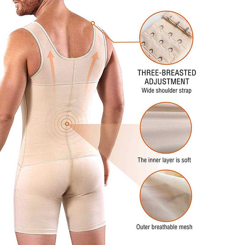 Bel eğitmen erkekler ince tam vücut şekillendirici ayarlanabilir yağ göbek kontrolü popo kaldırıcı iç çamaşırı korse artı boyutu Bodysuit Shapewear