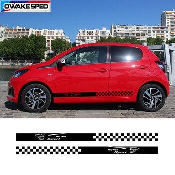 For PEUGEOT 107 108 Racing Stripes Car Styling MOTOR SPORT Lattices Graphics Vinyl Decals Auto Door Side Skirt Stickers