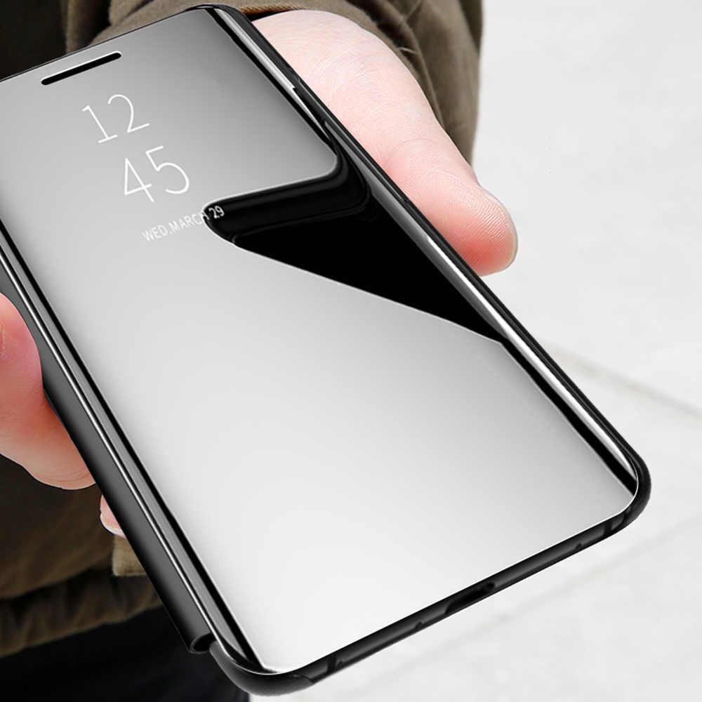 Eqvvol رؤية واضحة مرآة ذكية حقيبة لهاتف سامسونج S10 S9 S8 زائد S7 حافة الوجه الحالات على غالاكسي ملاحظة 8 9 10 برو a50 A80 A70 A7 غطاء