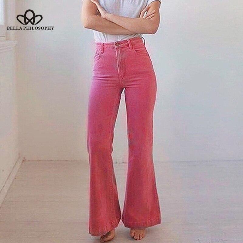 Bella philosophy women 2019 autumn solid high street   pants   ladies high waist   Wide     leg     pants   female fashion Corduroy leggings