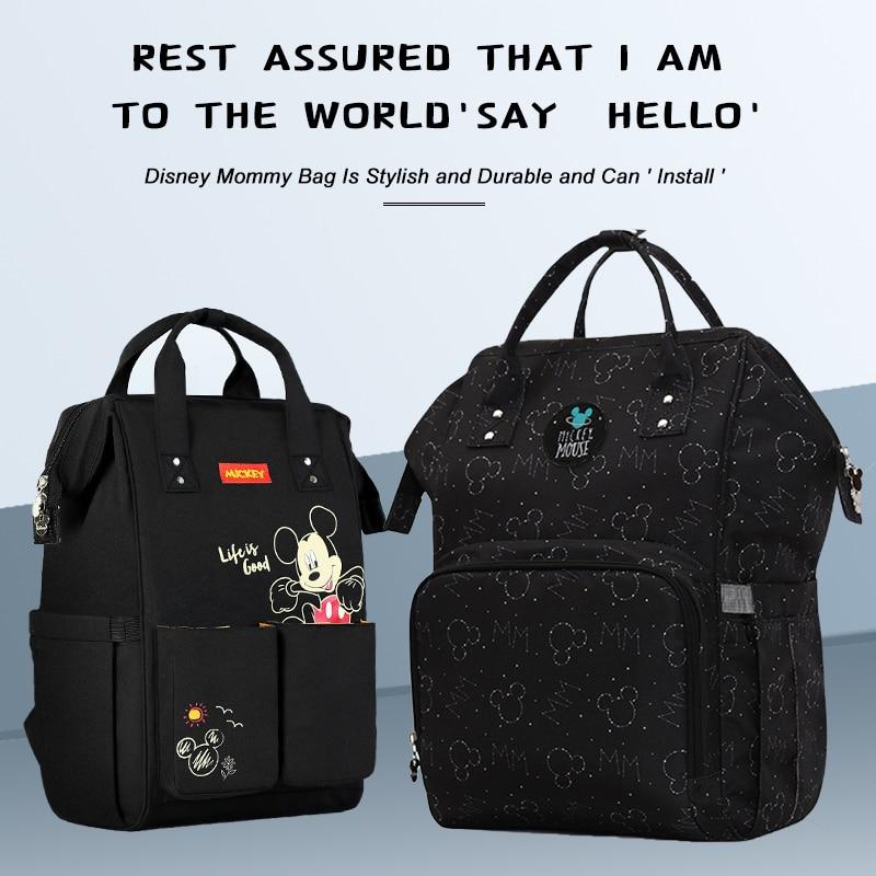 H0dc87e71e6084b50a02c80c5b8773440K Disney Diaper Bag Backpack For Moms Baby Bag Maternity For Baby Care Nappy Bag Travel Stroller USB Heating Send Free 1Piar Hooks