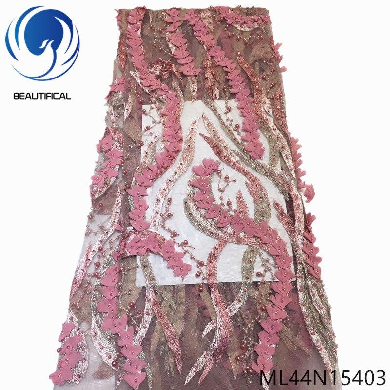 Beautifical 3d tecido de renda francesa strass e contas tule tecido renda para vestido alta qualidade tecido renda nigeriana ml44n154 - 3