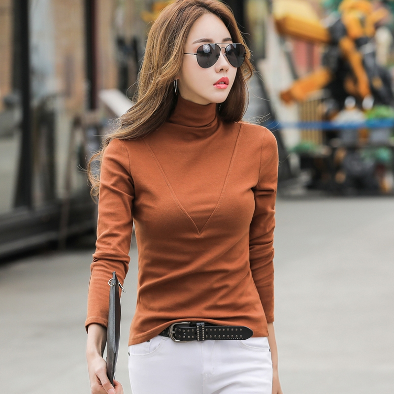 Thick Fleece T Shirt Women Tops Turtleneck Long Sleeve Cotton Multi Colors Autumn Winter Tshirt Bottoming Mujer T90392