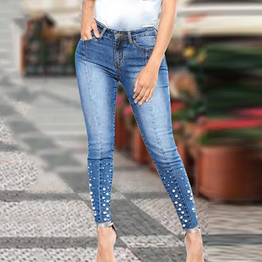 2019 New Blue Jeans Pancil Pants Women High Waist Slim Pearl Skinny Denim Jeans Casual Stretch Skinny Trousers Jean D#