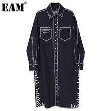 [EAM] kobiety czarna biała z nadrukiem Big Size sukienka nowy Laepl z długim rękawem luźny krój mody fala wiosna jesień 2021 1DD1657