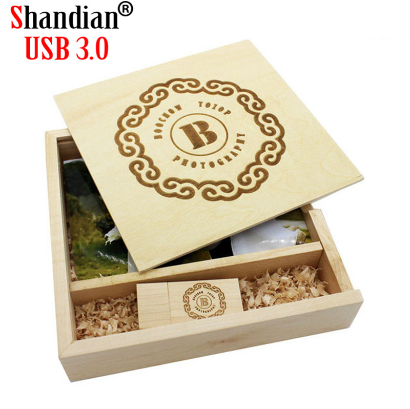 SHANDIA USB 3.0 Customer LOGO Wooden Photo Album Usb+Box Usb Flash Drive U Disk Pendrive 8GB 16GB 32GB Photography Wedding Gift