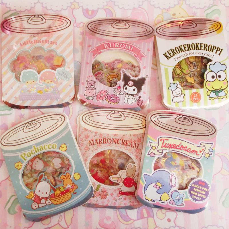 1pack Cartoon Canned Sticker Pack Sanrio Series Melody Stickers Diary Label Stickers Decor Scrapbooking DIY Stickers Toys Gift