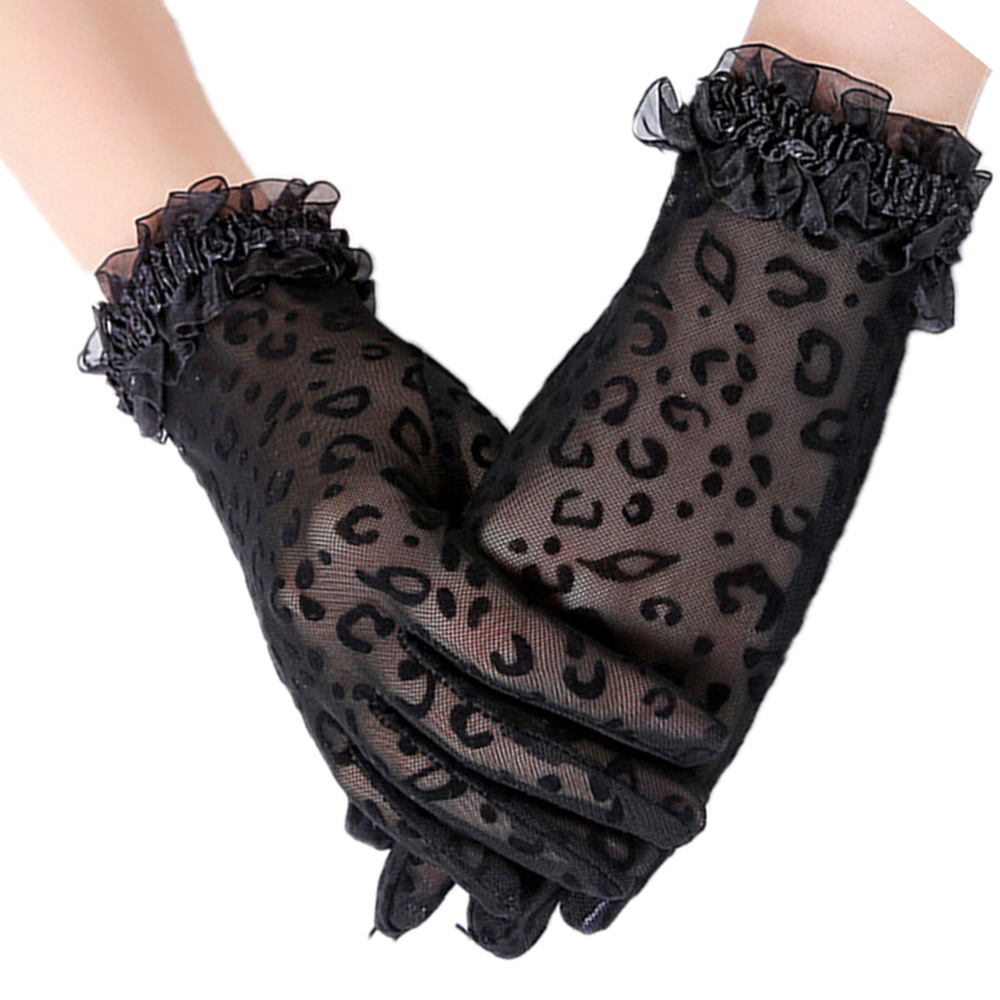 1Pairs Women Lace Leopard Gloves Sunscreen UV-Proof Driving Gloves Ladies Mesh Short Thin Gloves