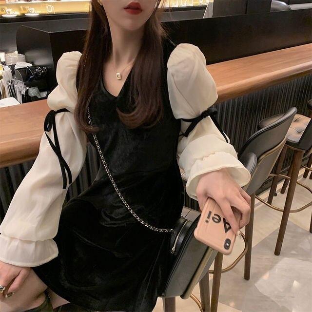 French Vintage Mini Dress Women 2021 Spring Lace Bow Velvet Evening Party Dress Female Y2k Casual Kawaii One Piece Dress Korean 2