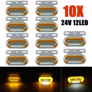 10pcs 24V 12 LED Car Truck Side Marker Lights Car External Lights Signal Indicator Lamp Warning Tail Light 3 Modes Trailer Lorry