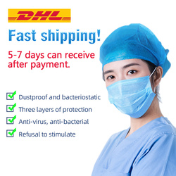 Máscara facial desechable antivirus de 100 Uds. Máscara facial de 3 capas pm2.5 apta para polvo Filtro de boca de máscara para adultos