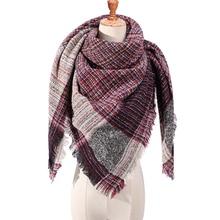 Winter Cashmere Scarf Women Plaid Blanket 2019 New Designer Female Triangle Pashmina Shawls and Scarves