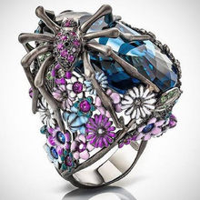 LETAPI 925 Silver Statement Blue Crystal Ring Spider Flower Wedding Ring for Woman(China)