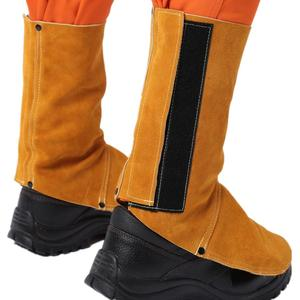 Image 5 - Professional Welding Spats Cowhide Leather Flame Heat Abrasion Resistant Working Shoe Cover Protector Welding Gaiter