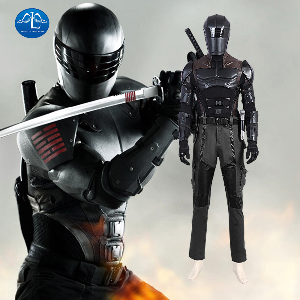 G I Joe Retaliation Snake Eyes Cosplay Costume Halloween Outfit For Adult Men Retaliation Black Suit Fancy Helmet
