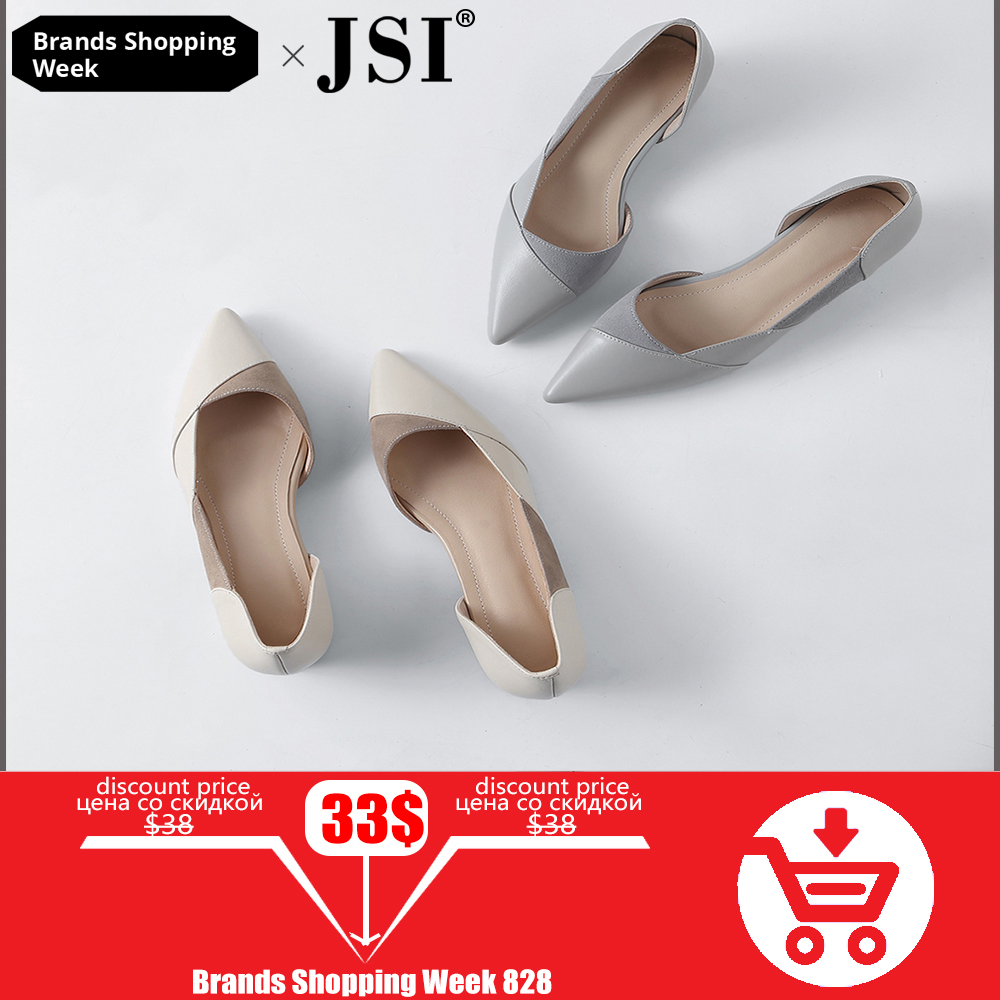 JSI Lady Shoes Pumps Gray Pointed-Toe Sexy White Casual Women Slip-On New Shallow Concise